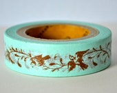 Deco Crafting Tape Birds and Vines on Baby Blue