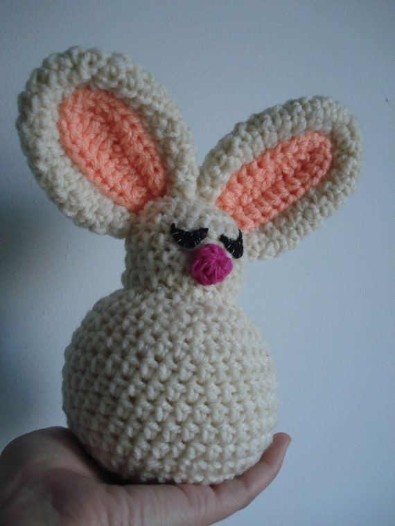 Sleepy bunny with a big belly crochet toy