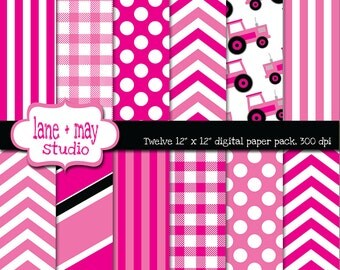digital papers - pink tractor, little girl farm party theme patterns - INSTANT DOWNLOAD