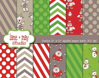 digital scrapbook papers - red, green and tan christmas character theme patterns - INSTANT DOWNLOAD
