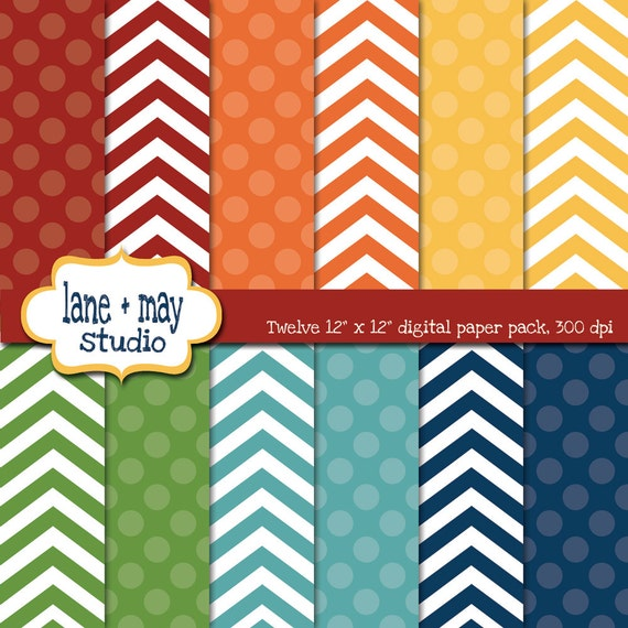 digital scrapbook papers - classic rainbow polka dots and chevron patterns - INSTANT DOWNLOAD