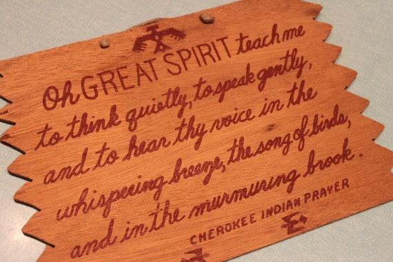 Cherokee Indian Prayer Wall Plaque Vintage Hanging Art Oh