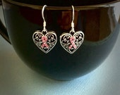 Breast Cancer Awareness Earrings, antique silver plated, pink crystal, french hook, gift