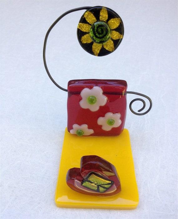 Whimsical Handmade Glass Business Card Holder