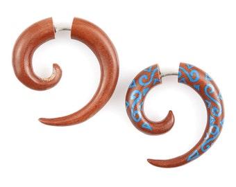 """Fake Gauge Earrings - Wood Tribal Earrings - Fake Plug Piercing Jewelry - Saba Wood """"Painted Kanaka Coils 4mm"""" Wood Earrings - Fake Plug"""