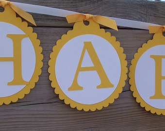 Happy Birthday Banner - Custom Available - Simple Sentiment  - Choose Your Color - Bridal Shower Baby Shower Party Banner