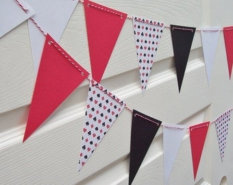 Queen of Hearts Banner - Deck of Cards - Poker Party - Bridal Shower Baby Shower Stag and Doe Bachelor Party - Alice in Wonderland