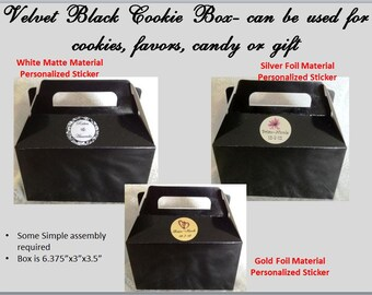 5 Velvet Black Cookie/Candy Favor Boxes w Handles Personalized 4 Wedding, Birthday etc.