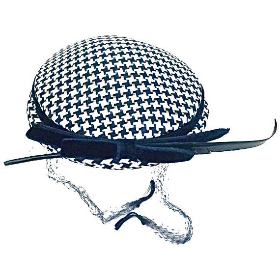 Vintage Ladies Hat Navy Blue and White Checked In Color with a Blue Satin Trim and Ribbon and a Navy Blue Feather
