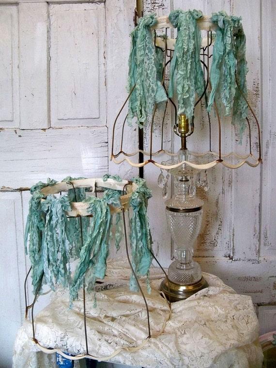 Shabby chic rusty raw lampshades with aqua sea foam tattered ribbon Anita Spero