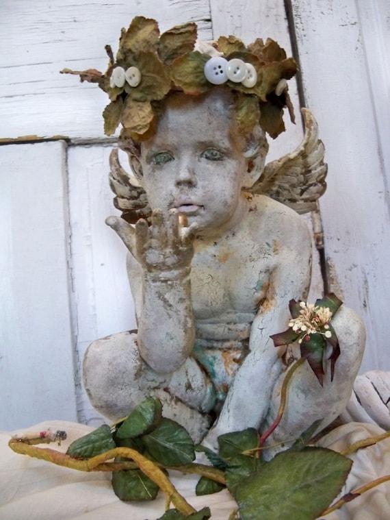 Large hand painted cherub statue shabby chic art piece home decor Anita Spero