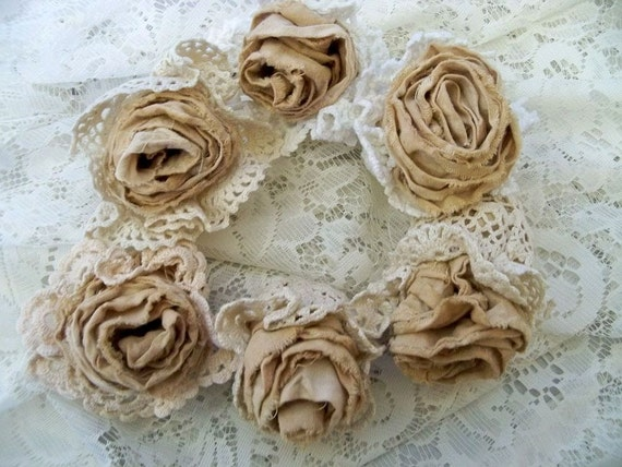Muslin crochet hand made roses six fabric tattered tea stained flowers supply or decor Anita Spero
