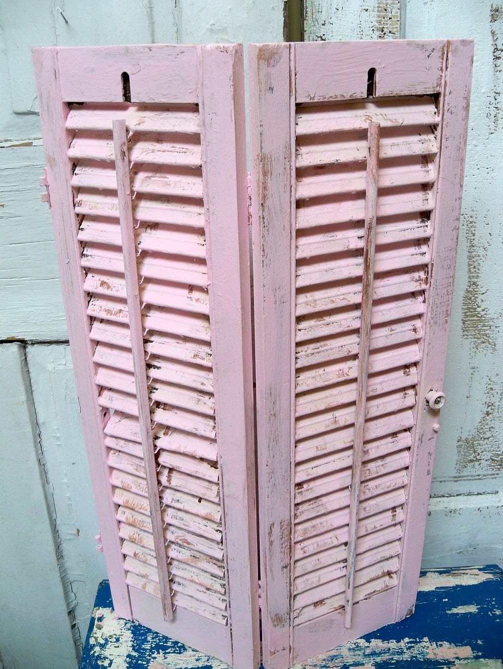 Vintage Wooden Hand Painted Shutter Shabby Chic Pink