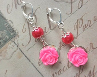 Girls Hot Pink Rose and Pearl Earrings