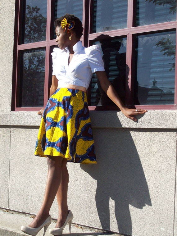 ankara high waist flared skirt