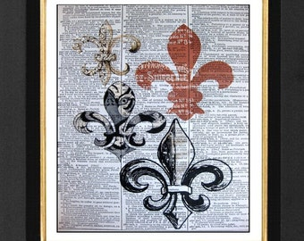 Fleur De Lis's -LSU Tiger Mixed Media Art Print, Vintage Dictionary Page Art Print,Louisiana Fleur De Li,Home Decor, 8x10, A4, Fleur De Li