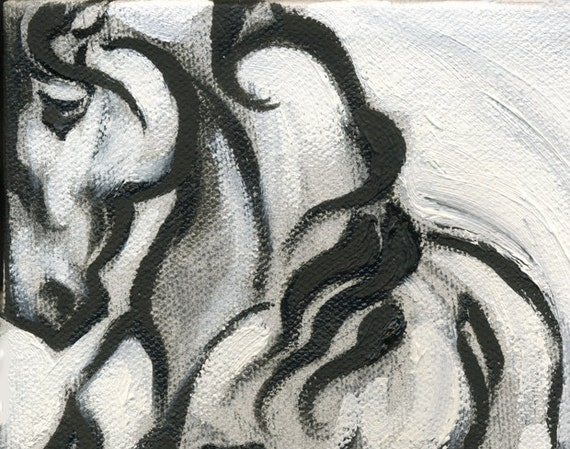 """Horse Art Painting Baroque Prancing Friesian by Anna Noelle Rockwell-""""Prancing Friesian"""""""