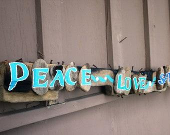 Peace Love Sandy Feet Driftwood Art (Rustic Beach Home Decor, Shabby Chic peacelovedriftwood