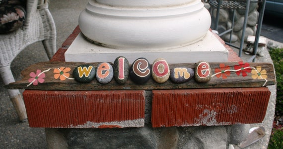 WELCOME Driftwood Sign with warm orange, pink, golden yellow, reds & flowers