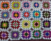 20 Crochet Granny Square Multicolor with White Border / DIY / Handmade  /  No.  TS29