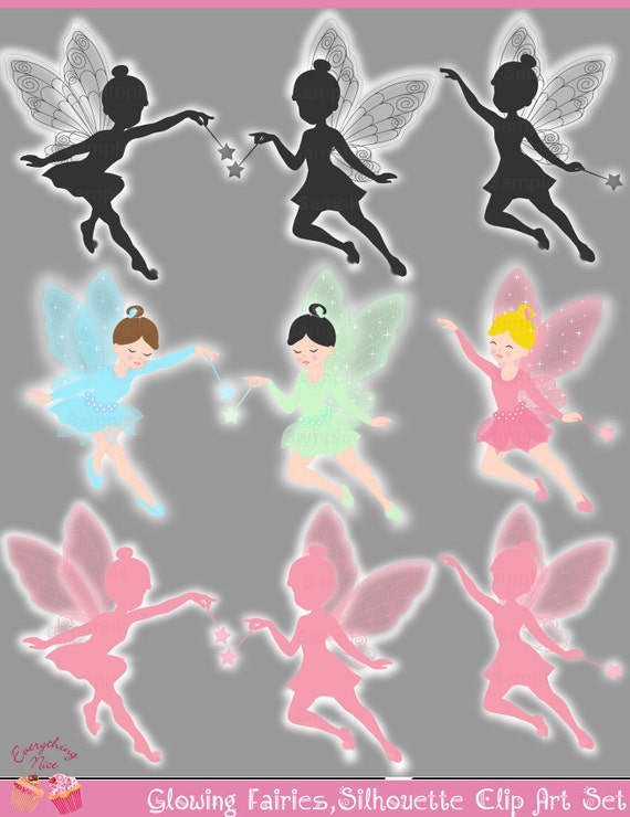 Glowing Fairies, Glowing fairies Pink Black Gray Fairies Silhouette Clip Art Set
