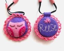 Felt owl necklace Personalized Gift for toddler girl Felt sleeping owl Children felt jewelry Pink Purple necklace Shower gift