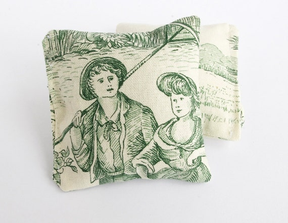 French Lavender Pillow Dried lavender sachet French toile Country Home Farmhouse decor Green