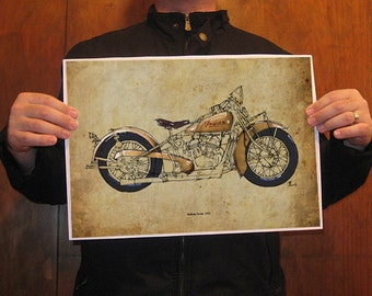 Original Handmade Drawing Print, INDIAN SCOUT 1932,Paper size A3 -11.5x16 in (29x41 cm), art, home decor
