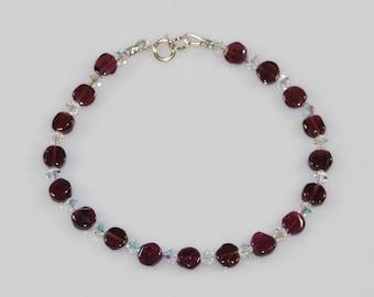 Crystal and Garnet Bracelet