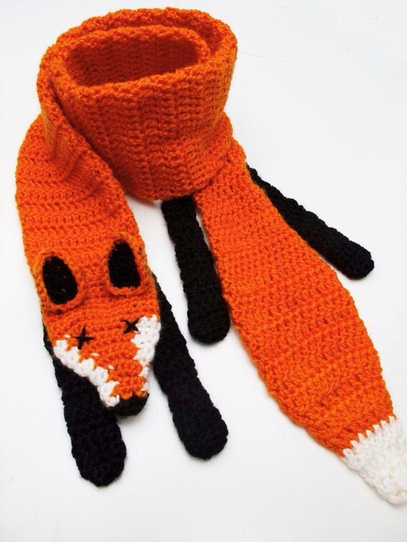 Boot Leg Warmers Knitting Pattern : Crochet Fox Scarf by novelopt on Etsy