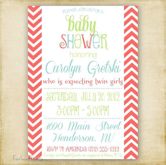 Coral Modern Chevron Baby or Bridal Shower Invitation - Printable DIY