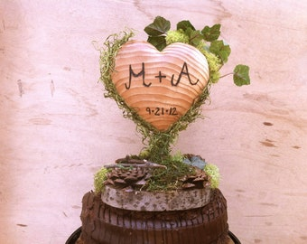 Green Moss Wedding Cake Topper - Heart Wedding Cake Topper - Wooden Heart Cake Topper - Rustic Cake Topper - Unique Wedding Cake Topper