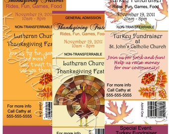 Personalized Ticket Style FALL EVENT, THANKSGIVING, Invitations - set of 12