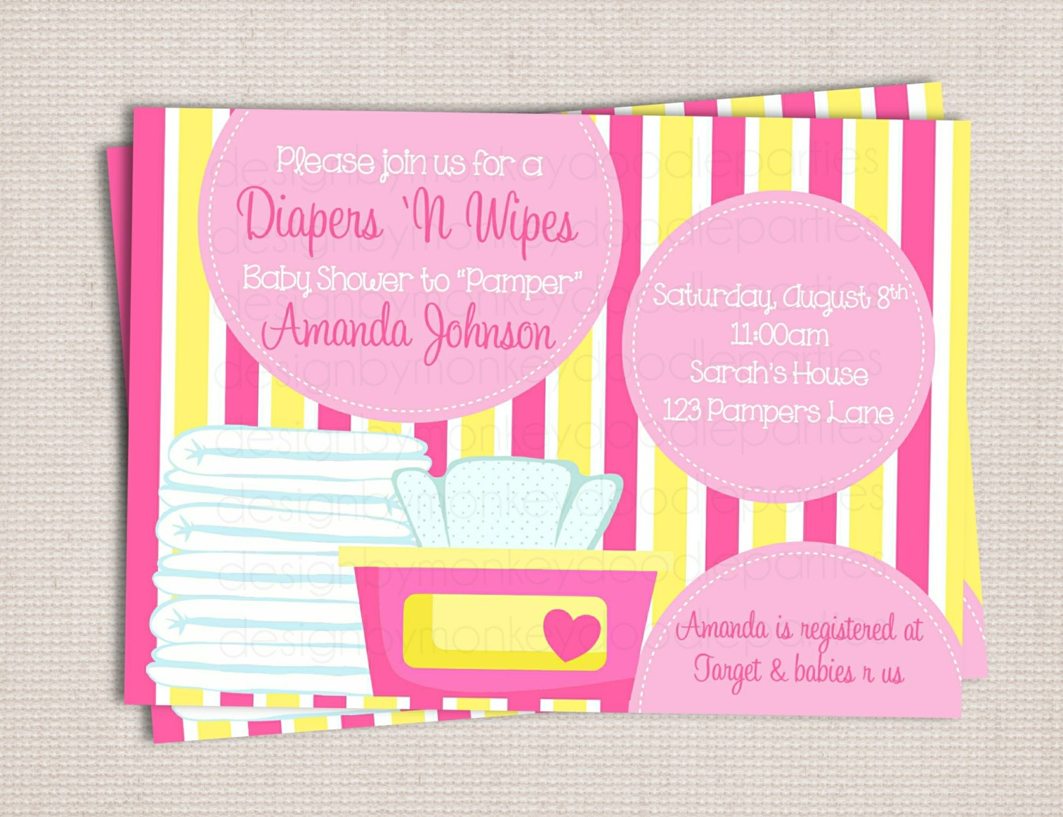 diaper and wipe custom printable baby by monkeydoodleparties