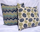 Green, Navy and Grey Chevron and Swirl Pillow Set