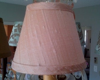 Chandelier Lampshade blush pink dupioni silk clip lampshade