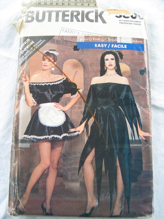 ADULT  costume, sewing patern , FRENCH Maid,  size  small, medium,  large, uncut factory folded, BUTTERICK