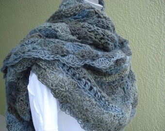 Gray and Taupe Crocheted Scarf or Shawl - Twilight hues shawl or scarf