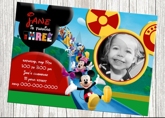 Mickey Mouse Clubhouse Character Birthday Invitation - With Photo