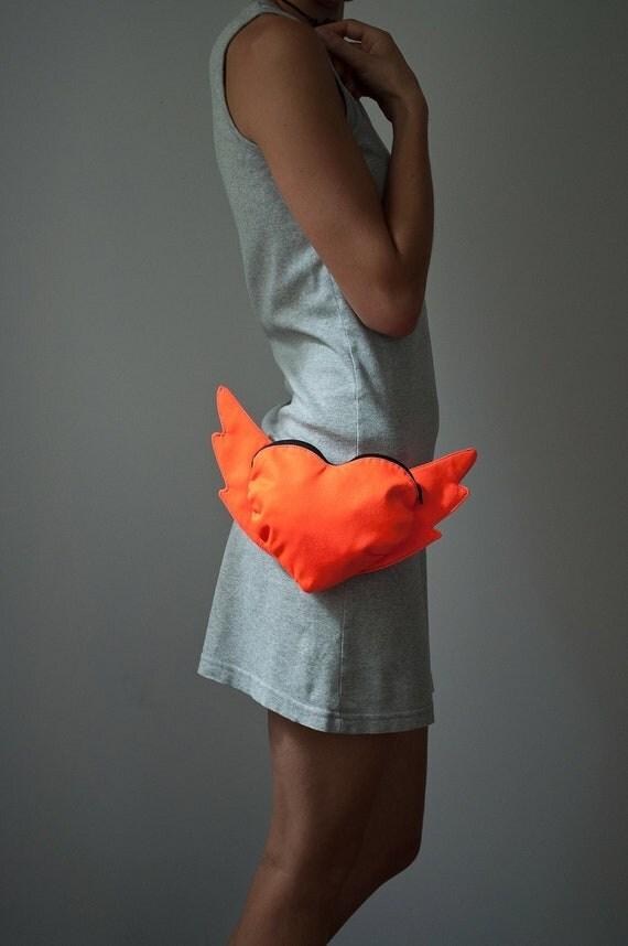 Flying Heart Bag Neon Orange Bag Heart Bag Purse Belt Bag Love Gift Hip Bag Club Kid Heart Shaped Bag Modern Small Party Bag Winged Heart