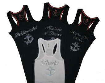 NAUTICAL WEDDING  Qty. 4 Rhinestone Bridal Party Tank Tops with Anchor. Small to XXXL. Bride. Bridesmaid. Maid of Honor.
