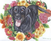 "Personalized Pet Portrait with Detailed Background 11"" x 14"""