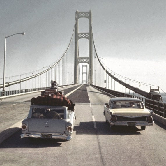 60s Family Vacation: Crossing Mackinac Bridge Original Photo from Negative 10x10