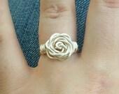 Silver Rose Rings