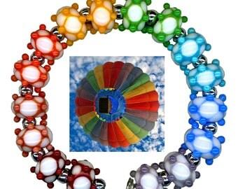 Handmade USA Lampwork Glass Beads Harlequin Rainbow Karma Colors Bead Set
