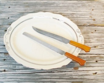 Vintage Kitchen Knives Caramel Bakelite Handles, Vintage Knives Bird's Beak Handles, Midcentury Knives