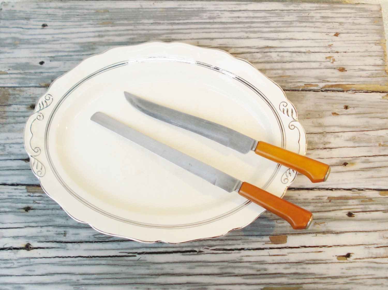 vintage kitchen knives caramel bakelite by alegriacollection