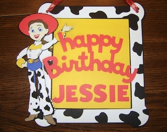 TOY STORY Jessie Woody Happy Birthday Disney Door Sign