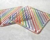 Rainbow Striped Glass Fused Coaster Pair