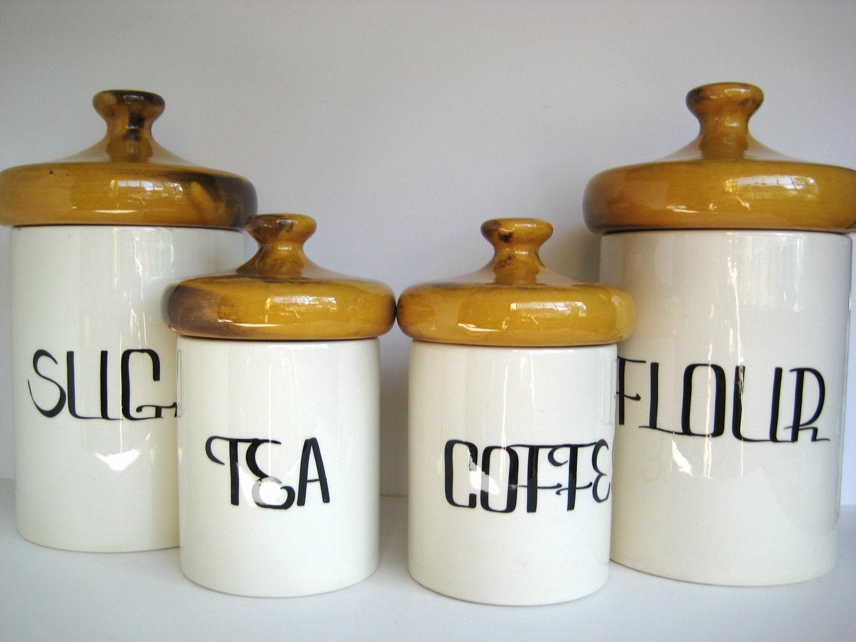 sale retro kitchen canister set mustard lids sugar flour